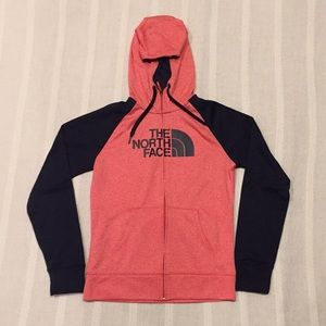 The North Face Peach and Navy Full Zip Sweatshirt